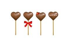 Corações dos doces de chocolate com uma morango. Vetor   Imagens de Stock
