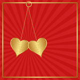 Corações dourados Fotos de Stock