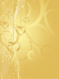 Corações dourados Imagens de Stock