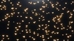 Corações dourados em um fundo preto Imagem de Stock Royalty Free
