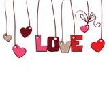 Corações e amor da palavra no fundo Imagens de Stock Royalty Free