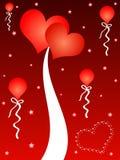 Corações e balões vermelhos ilustração do vetor