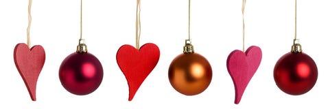 Corações e baubles do Natal Imagens de Stock Royalty Free