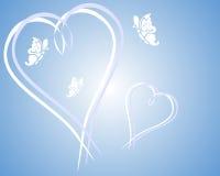 Corações e borboletas Fotografia de Stock