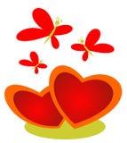 Corações e borboletas Imagem de Stock Royalty Free