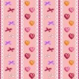 Corações e bordado das curvas Imagens de Stock Royalty Free