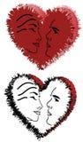 Corações e caras Imagens de Stock