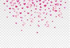 Corações e confetes de queda no fundo transparente Vetor eps10 Foto de Stock Royalty Free