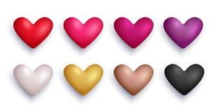 Corações e confetes de queda no fundo transparente Vetor eps10 Fotos de Stock Royalty Free