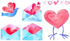 Corações e correio/pássaro do Valentim da aguarela Imagem de Stock