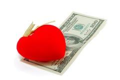 Corações e dólares Imagens de Stock Royalty Free
