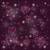 Corações e flocos de neve ilustração stock