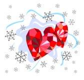 Corações e flocos de neve do rubi Foto de Stock Royalty Free