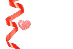 Corações e flores ao Valentim em um fundo branco isolado Fotos de Stock