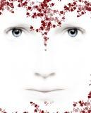 Corações e flores dos olhos Fotografia de Stock
