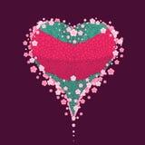 Corações e flores no vermelho Ilustração Stock