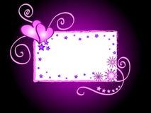 Corações e frame das estrelas Fotos de Stock