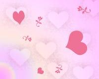 Corações e fundo das flores Imagem de Stock