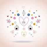 Corações e ilustração da arte abstrato das estrelas Imagem de Stock
