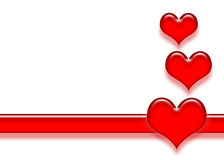 Corações e listra Ilustração Stock