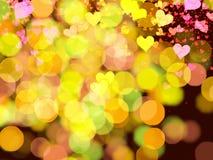 Corações e luzes Imagens de Stock