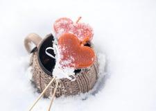Corações e neve do vintage Imagens de Stock Royalty Free