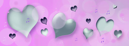 Corações e notas da música Foto de Stock Royalty Free