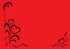 Corações e ornamento floral, beira decorativa Fotografia de Stock