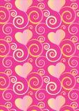 Corações e para florescer o fundo cor-de-rosa colorido do teste padrão para cartões e projetos festivos ilustração stock