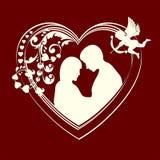 Corações e pares da silhueta no amor Fotos de Stock Royalty Free