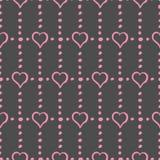 Corações e pontos cor-de-rosa em Gray Background Stylish Seamless Pattern ilustração royalty free
