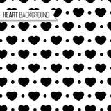 Corações e pontos do dia do ` s do Valentim na cor preta no fundo branco, teste padrão sem emenda Ilustração monocromática do vet Foto de Stock Royalty Free