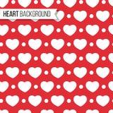 Corações e pontos do dia do ` s do Valentim no fundo vermelho brilhante, teste padrão sem emenda Ilustração do vetor Projeto româ Imagem de Stock Royalty Free