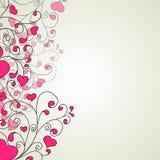 Corações e redemoinhos em um fundo claro ilustração royalty free