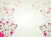 Corações e redemoinhos sobre em um fundo claro ilustração do vetor