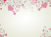 Corações e redemoinhos sobre em um fundo claro ilustração stock