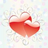 Corações e rolos Imagem de Stock