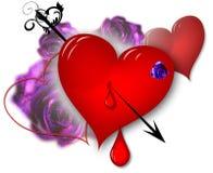 Corações e rosas Fotografia de Stock Royalty Free