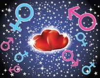 Corações e sinais dos homens e das mulheres ilustração royalty free