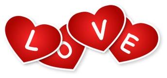 Corações e sinal do amor Foto de Stock