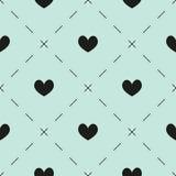 Corações e teste padrão dos traços Fotografia de Stock