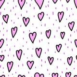 Corações e traços da garatuja do dia do ` s do Valentim no fundo branco, teste padrão sem emenda Ilustração do vetor do estilo da Imagem de Stock