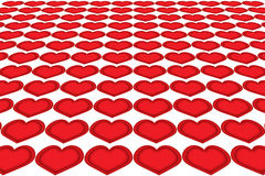 Corações em seguido Fotografia de Stock Royalty Free