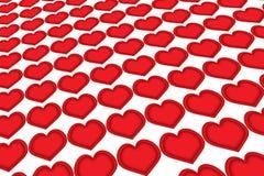 Corações em seguido Imagens de Stock Royalty Free