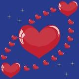Corações em um fundo azul Imagem de Stock