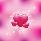 Corações em um fundo cor-de-rosa ilustração stock