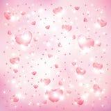Corações em um fundo cor-de-rosa ilustração royalty free