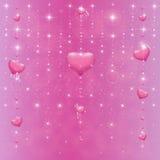Corações em um fundo cor-de-rosa com estrelas ilustração do vetor