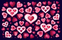 Corações em um fundo escuro Imagem de Stock Royalty Free