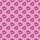 Corações em um teste padrão sem emenda do fundo do rosa Projeto de empacotamento para o papel de embrulho Ilustração do vetor Est ilustração stock